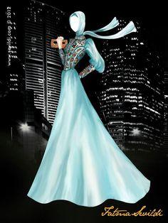 ♥ Islamic Fashion, Muslim Fashion, Hijab Fashion, Fashion Design Drawings, Fashion Sketches, Fashion Illustration Poses, Hijab Drawing, Ella Enchanted, Anime Muslim