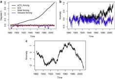 Modelling results: (a) Estimated contribution of forcings to global mean ...