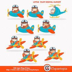 Little Pilot digital clipart / Aviator Clip art / by ClipArtopia