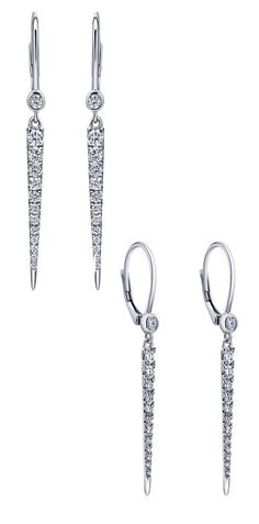 A stunning pair of 14k White Gold Diamond Drop Earrings from Gabriel & Co. We love the drop filled with all the diamonds! Check out all of our diamond drop earrings and more at our website www.gabrielny.com