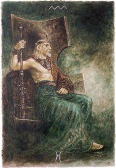 Minor Arcana - King of Wands | The Labyrinth Tarot | Luis Royo
