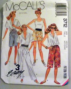 1980s Pull on Pants and Shorts sewing pattern by retroactivefuture, $6.00