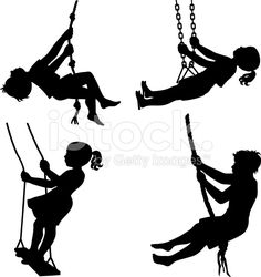 Kids on swings stock vector art 19951171 - iStock
