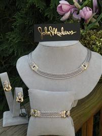 Anvil 4 Strand Two Tone Necklace, Bracelet