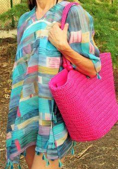 Poncho de Mujer 12,99€- CMK Large Handbags, Beach Outfits, Hot Pink, Summer Time, Dressmaking, Women