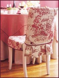 DIY How to make a Slip Cover for a Chair - this would be also great in cobalt blue and white