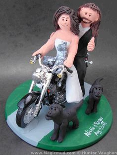 Hunter Vaughn wedding toppers. Reasonable, totally customizable, made from clay. The ultimate keepsake, he did the one for our wedding!