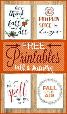 Free printables for Fall. Start your Fall decorating with these lovely printables. Autumn Crafts, Holiday Crafts, Fall Halloween, Halloween Crafts, Autumn Decorating, Happy Fall Y'all, Hello Autumn, Fall Home Decor, Fall Pumpkins