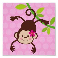 Shop Cute Monkey Nursery Kids Wall Art Prints Girls created by LittleSeiraStudio. Monkey Girl, Cute Monkey, Mod Monkey, Nursery Canvas, Kids Canvas, Monkey Nursery, Monkey Birthday Parties, Monkey Tattoos, Girl Posters