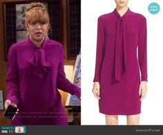 Kristin's pink bow neck dress on Last Man Standing.  Outfit Details: https://wornontv.net/55957/ #LastManStanding