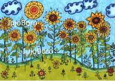 Napraforgós rét Naive, Folk Art, Zen, Whimsical, Artists, Drawings, Projects, Painting, Templates