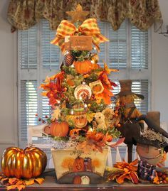 prim scarecrow tree denise | Primitive Autumn Thanksgiving Pumpkin Tree W/ Lights Hand Painted By ...