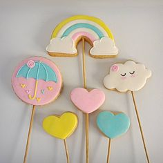 Rainbow Parties, Rainbow Theme, File Decoration Ideas, Paletas Chocolate, Cloud Party, Edible Bouquets, Adoption Party, Cute Cookies, Baby Shower Gender Reveal
