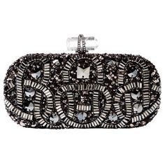 Marchesa Hematite Embroidered Clutch. Swarovski crystal embroidered in a serpentine pattern in glossy jet.