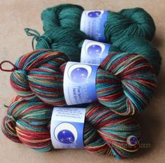 """Hobbits"" on Polwarth/Silk DK http://www.mosaicmoon.com/item_462/Hobbits-and-Forest-Semisolid-on-Polwarth-Silk-DK.htm"