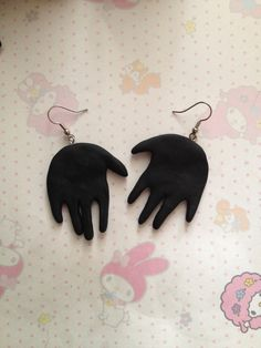 Hand Earrings Matte Black Silver Accent Handmade by blindfawnshop