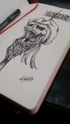 Captain Morgan tattoo design, by Luis Marún
