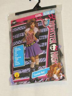 Girls Sz S 4 6 Monster High Clawdeen Wolf Costume Jacket Shirt Skirt Belt Choker