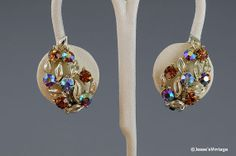Vintage Earrings Signed Lisner Topaz & AB by JessesVintage on Etsy, $9.95