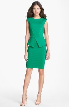 Free shipping and returns on Ted Baker London 'Evvie' Structured Waist Stretch Peplum Sheath Dress at Nordstrom.com. Silk-satin trim illuminates the tailored seam work of a body-conscious sheath detailed with a cutaway peplum and come-hither V-back.