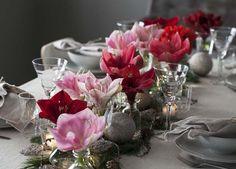 Slik pynter du et vakkert julebord med amaryllis Babysitting, Hygge, Glass Vase, Table Decorations, Christmas, Furniture, Home Decor, Noel, Backyard Patio