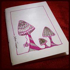 Illustrated notebook cover, mushrooms zentangle design. Diy notebook A6. Trip #03