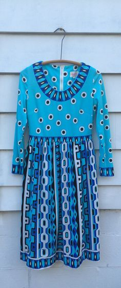 Vintage Mr. Dino Psychedelic Knit Dress Op by JanetsVintagePlanet