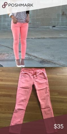 """J Crew Coral Toothpick Jeans J Crew ankle toothpick jeans. Size 28. Color is a neon pink/orange. 14.5"""" flat across waist & 28"""" inseam. Small mark at knee on right leg - see last photo. Should wash out by how it looks, but I have not washed them.  -- no trades -- clearance price is firm -- J. Crew Jeans Skinny"""
