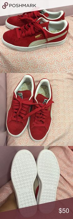 Red Pumas ! 👍🏻👍🏻 NEW Red puma suede sneakers !! :), **does not come with box** Puma Shoes Sneakers