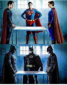 Superman (Henry Cavill, Christopher Reeve, Brandon Routh) and Batman (Ben Affleck, Michael Keaton, Christian Bale)