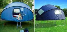 Genius!!! A tent for your trampoline. No need for a blow up mattress for Summer sleepovers.