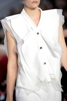 Chic white on white layering & gold buttons; feminine fashion details // Chloe