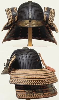 62 plate hoshi kabuto, by Joshu (No) Ju Saotome Iechika, Edo period, 17th to 18th c, with concisely spaced suji [ridges], each plate with a row of thirty three small rivets, the iron mabisashi [peak] lacquered with gold mura nashiji depicting flying plovers in gold hiramaki-e, a rare double shikoro [neck guard] formed of an upper section with four bands of brown-lacquered iron, the lower band with a shakudo fukurin [edging], the top two bands turned back forming the fukigaeshi [turnbacks].
