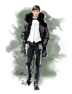 Illustration.Files: Dsquared² F/W 2015 Menswear Fashion Illustration by Daniel Muñoz