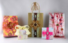 Gift Wrap Accented with Yarn