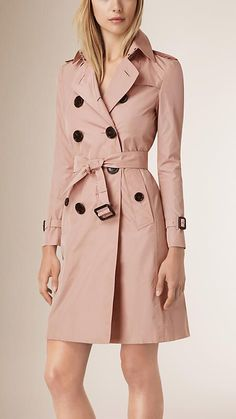 Pink rosewood Leather Trim Technical Trench Coat - Image 1