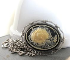 Cameo Necklace Female Cameo Creamy Ivory Black Chain by fiveforty, $54.00