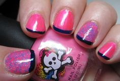 Lit From Within:  Pink Cookie neon, Salon Perfect Shocked accent and funky French