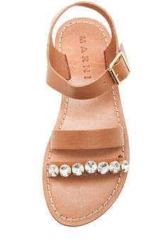 Shop for Marni Embellished Leather Sandals with Small Stones in Caramel at  FWRD. 17ba6172e2bbe