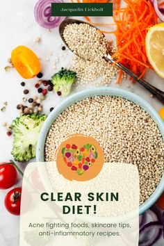Clear skin diet Improve the look of your skin by simply adding the right foods to your diet :) Here you will find anti-inflammatory recipes and more about the dermi diet! Get clear skin naturally and facts, learn more about acne-fighting foods, acne clearing diets, skincare, and acne treatments. Clear Skin Fast, Clear Skin Tips, Acne Clearing Foods, Clear Skin Routine, Glowing Skin Diet, Acne Treatments, Anti Inflammatory Recipes, How To Treat Acne, Get Healthy