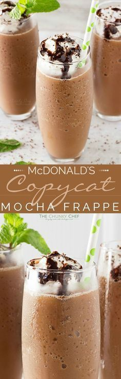 Copycat Mocha Frappe | Just 4 ingredients! Forget spending your money on a frozen coffee drink, make your own mocha frappe at home!! | thechunkychef.com