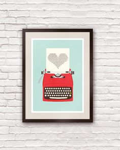 Vintage typewriter poster, mid century art, Retro print, heart print, words, pop art, posters with typewriters  A3