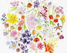 kmakesthings:    flowerfield. watercolor.