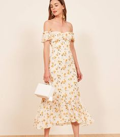 Since people just won't stop getting married, we'll keep making wedding appropriate dresses. This is an off-the-shoulder, midi length dress with a sweetheart neckline and ruffle edged sleeves. Chic Outfits, Summer Outfits, Fashion Outfits, Summer Dresses, Dress Fashion, Pretty Dresses, Beautiful Dresses, Ascot Ladies Day, Engagement Party Dresses