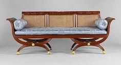 Sofa, Attributed to Duncan Phyfe, ca. 1810-20, American, mahogany, tulip poplar, cane, gilded brass. Metropolitan Museum of Art.