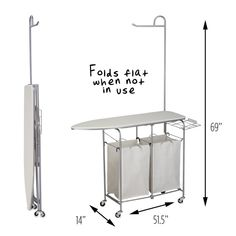 Honey Can Do Foldable Laundry Center Double Hamper, Double Laundry Hamper, Wicker Laundry Hamper, Laundry Baskets, Wall Mounted Drying Rack, Laundry Center, Laundry Rack, Contemporary Cabinets, Vintage Laundry