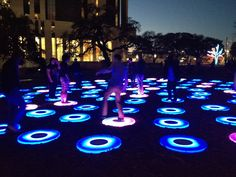 Republic Square Park - Austin, TX. When you jump on the circles, they change color! #sxsw