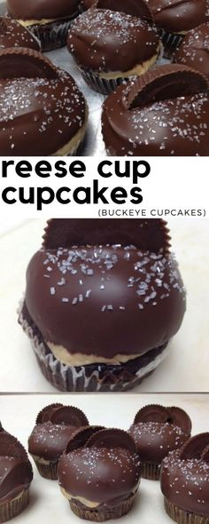 Cup Cupcakes (Buckeye Cupcakes) Homemade reese cup cupcakes recipe any peanut butter fan is sure to love!Homemade reese cup cupcakes recipe any peanut butter fan is sure to love! Brownie Desserts, Just Desserts, Delicious Desserts, Dessert Recipes, Yummy Food, Homemade Cupcake Recipes, Buckeye Cupcakes, Chocolate Cupcakes, Fudge