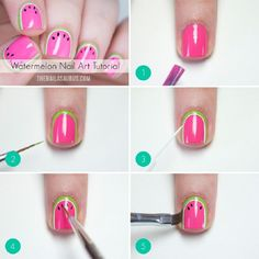 Super Easy Nail Art Ideas for Beginners - Watermelon Nail Art Tutorial - Simple Step By Step DIY Tutorials And Pictures For Nailart. Ideas For Every Style, All Hair Colors, Sparkle, Valentines, And other Awesome Products To Make It DIY and Super Easy - ht Nail Art Blog, Nail Art Diy, Easy Nail Art, Cool Nail Art, How To Nail Art, Watermelon Nail Art, Watermelon Crush, Watermelon Nail Designs, Watermelon Ideas