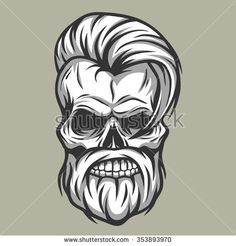 Vector Hair Handsome Skull - Hipster Skull Stock Photography Illustration PNG - hipster, art, beard, black and white, bone Skull Tattoos, Body Art Tattoos, Tatoos, Tattoo Caveira, Beard Logo, Beard Art, Totenkopf Tattoos, Photography Illustration, Art Graphique